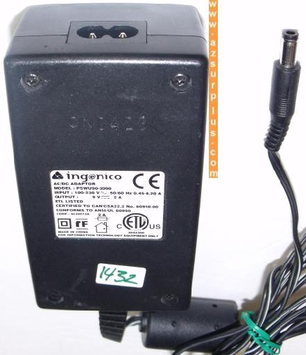 INGENICO PSWU90-2000 AC DC ADAPTER 9V 2A Barrel Power Supply