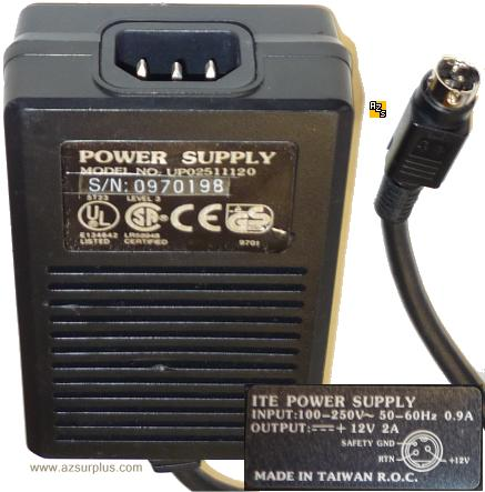 I.T.E. POWER SUPPLY UP02511120 12VDC 2A 3Pin 10mm Mini Din AC AD