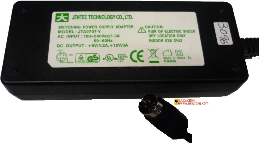 JENTEC JTA0707-Y AC AC ADAPTER +5V 12V 3A 4.4A SWITCHING POWER S