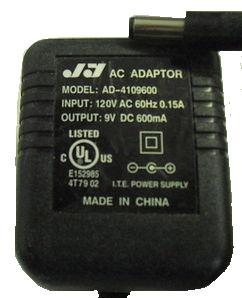 JY AD-4109600 AC ADAPTER 9V DC 600mA POWER SUPPLY Condition: Us