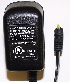 Kings KU1B-075-0300D AC ADAPTER 7.5V DC 300mA POWER SUPPLY 08024