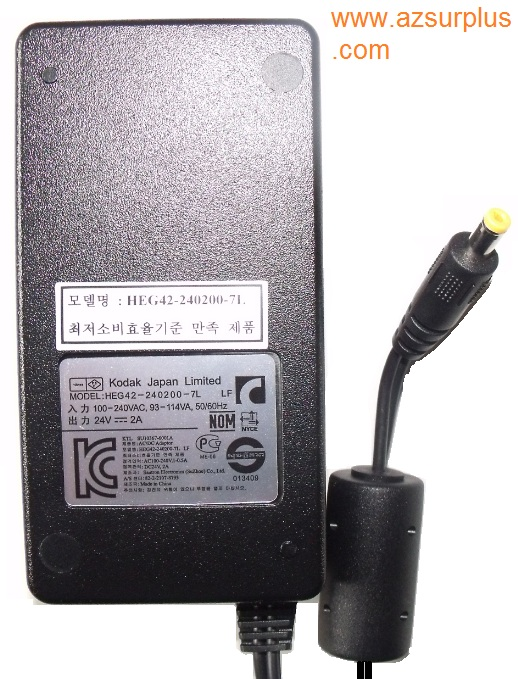 KODAK HEG42-240200-7L AC ADAPTER 24V 2A New 1.8x4.8x9.7mm -(+)-
