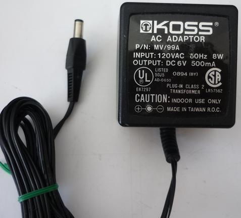KOSS AD-0650 AC ADAPTER 6VDC 500mA USED +(-) 2x5.5mm ROUND BARRE