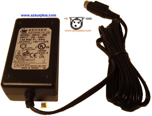 Kentex MA15-090 AC ADAPTER 9VDC 1.67A 3Pin POWER SUPPLY