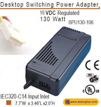 LEITCH SPU130-106 AC ADAPTER 15VDC 8.6A 130W 4-PIN MOLEX
