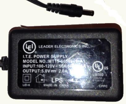 LEI MT15-5050200-A1 Ac Adapter 5V DC 2A Used -(+) 1.7x4x9.4mm