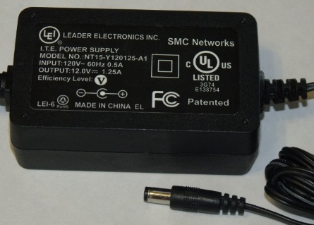 LEI NT15-Y120125-A1 AC ADAPTER 12VDC 1.25A USED 2 x 5.5 x 9.8mm