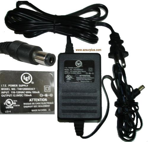 LEI T481208OO3CT AC Adapter 12VDC 750mA -(+)- 2.5mm I.T.E. Power