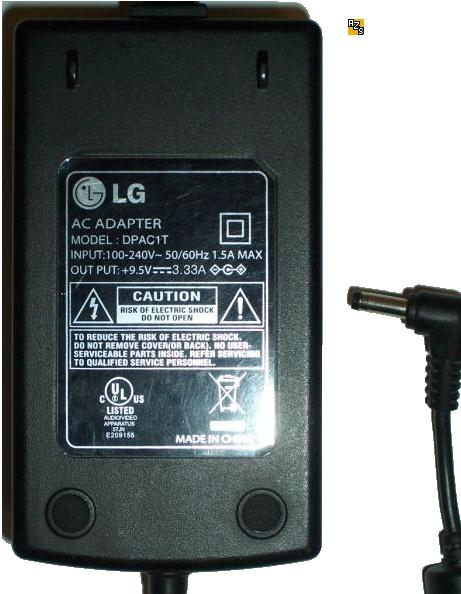 LG DPAC1T AC ADAPTER 9.5VDC 3.33A -(+) 1.5x4mm 90° Used 100-240v