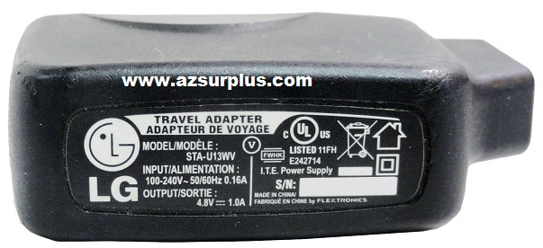 LG STA-U13WV AC ADAPTER 4.8VDC 1A USED USB TRAVEL CHARGER POWER