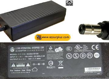 LI SHIN 0226A19150 AC ADAPTER 19VDC 7.89A -(+) 2.5x5.5mm 100-240