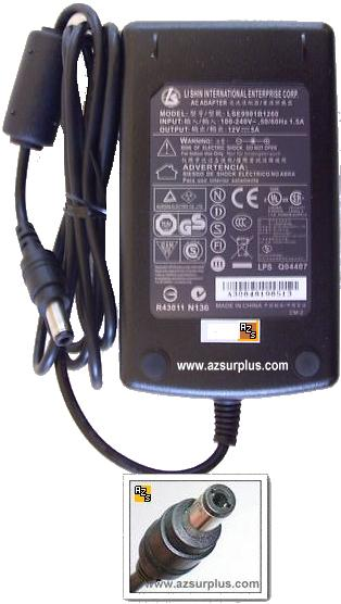 LI SHIN LSE9901B1260 AC ADAPTER 12VDC 5A USED -(+) 2.1x5.5mm Gri