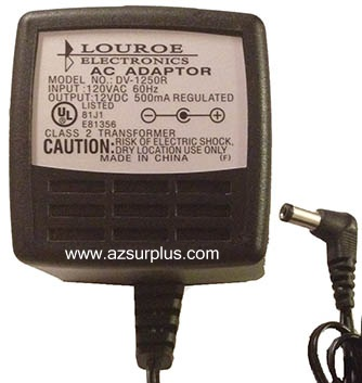 LOUROE DV-1250R AC ADAPTER 12V DC 500mA USED 2x5.5x10.3mm