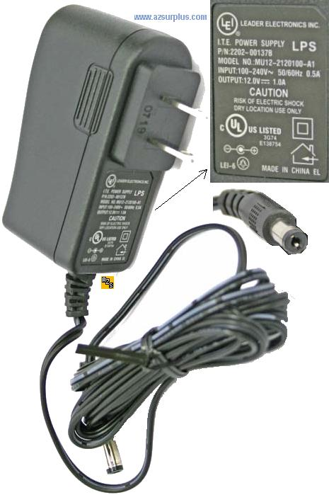 LEADER MU12-2120100-A1 AC ADAPTER 12VDC 1A ITE POWER SUPPLY