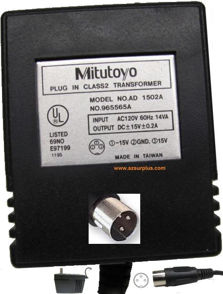 MITUTOYO AD 1502A AC ADAPTER 15VDC 0.2A 3Pin Din 13mm PN 965565A