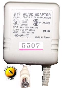 MLI D35-06-500 AC DC ADAPTER 6V 500mA CLASS 2 TRANSFORMER