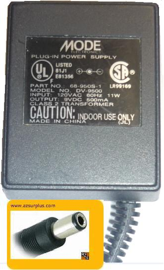 MODE DV-9500 AC ADAPTER 9VDC 0.5A +(-) 2x5.5mm 500mA 120vac PLUG