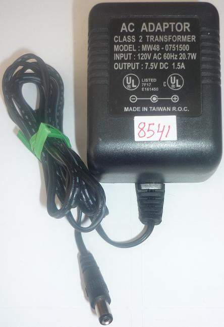 MW48-0751500 AC ADAPTER 7.5VDC 1.5A USED -(+) 2x5.5mm POWER SUPP