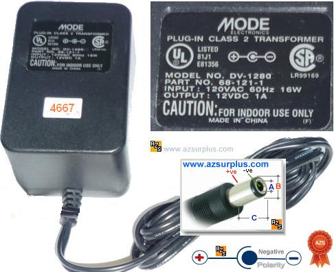 Mode DV-1280 AC ADAPTER 12V DC 1A Brrel Transformer Wallmount
