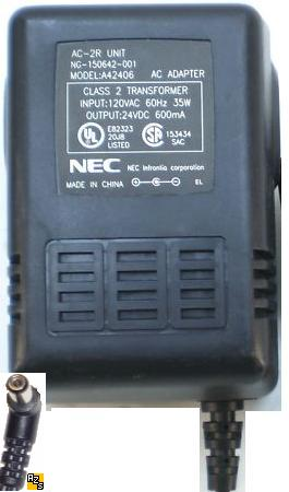 NEC A42406 AC ADAPTER 24VDC 600mA +(-)+ 2x5.5mm AC-2R Used 90°