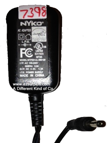 NYKO MTP051UL-050120 AC ADAPTER 5VDC 1.2A Used -(+)- 1.4 x 3.6 x