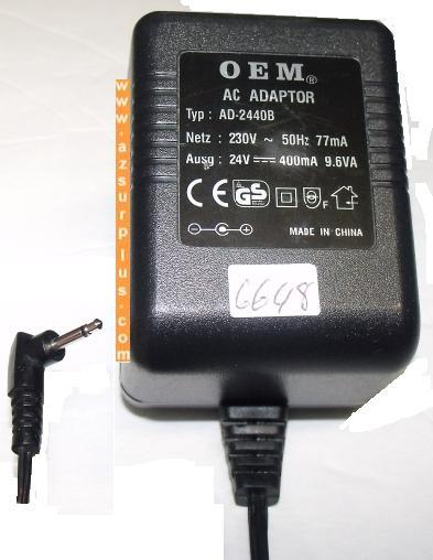 OEM AD-2440B AC ADAPTER 24VDC 400mA -(+)- 9.6VA Used 2.5mm audio