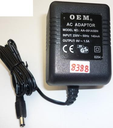 OEM AA-091A5BN AC ADAPTER 9VAC 1.5A USED ~(~) 2x5.5mm EUROPE POW