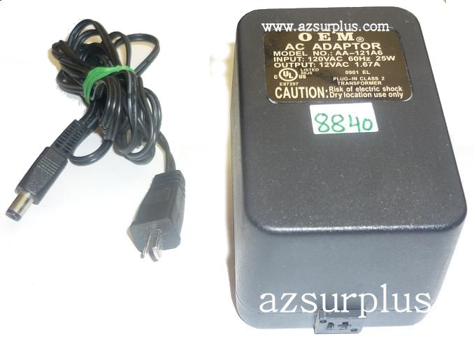 OEM AA-121A6 AC ADAPTER 12VAC 1.67A USED ~(~) 2PIN DIN 2.1x5.5mm