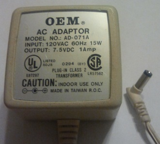 OEM AD-071A AC ADAPTER 7.5VDC 1A -(+)- 2x5.5mm POWER SUPPLY