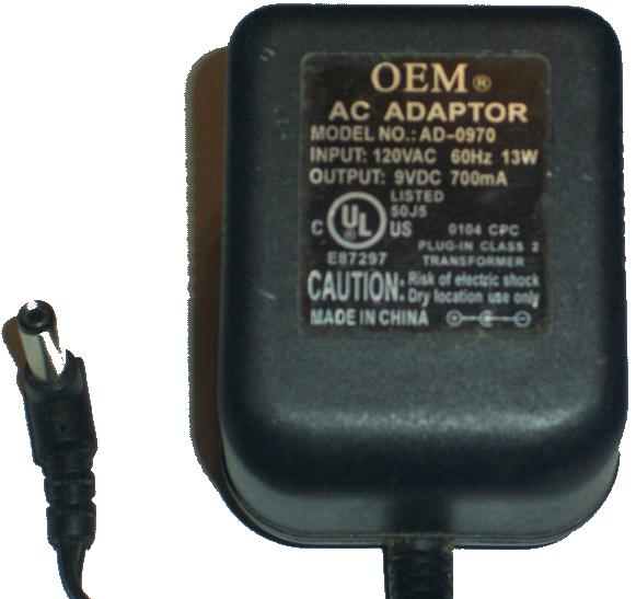 OEM AD-0970 AC ADAPTER 9VDC 700mA +(-) 2x5.5mm center -ve 13W PO