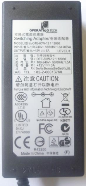 OPERATING TECH OTE-60W-12 1 12060 AC ADAPTER 12Vdc 5A -(+) 2.5x5