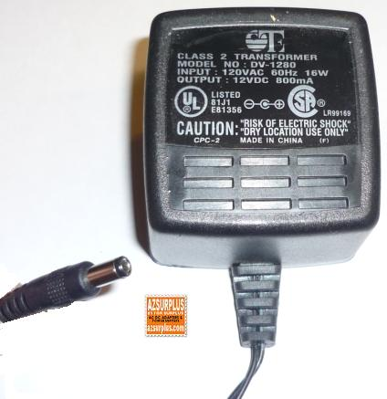 OTE DV-1280 AC ADAPTER 12V DC 800mA 16W POWER SUPPLY