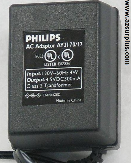 PHILIPS AY3170/17 AC ADAPTER 4.5VDC 300mA Used 1.7 x 4 x 9.7 mm