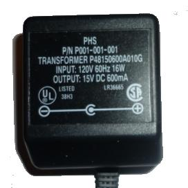 PHS P001-001-001 AC ADAPTER 15VDC 600mA CLASS 2 TRANSFORMER