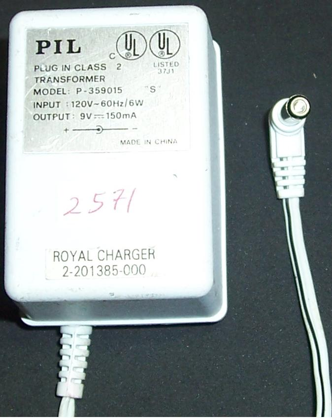 PIL P-359015 AC ADAPTER 9VDC 150mA CHARGER Power Supply Royal ha
