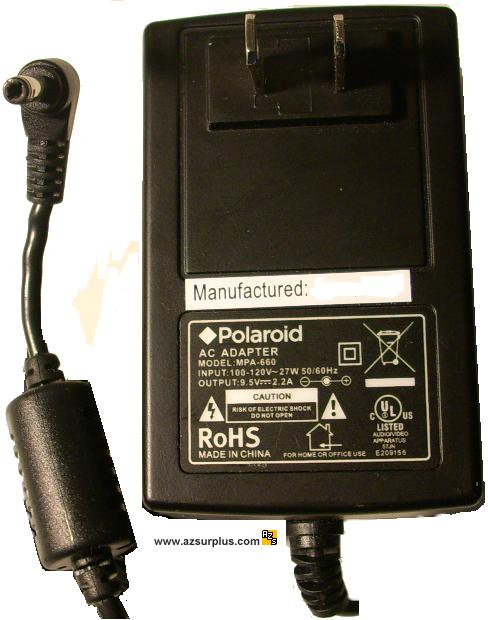 POLAROID MPA-660 AC ADAPTER 9.5VDC 2.2A 27W Switching POWER SUPP