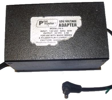 PRINT MASTER PS-3 AC ADAPTER 20VDC 2.5A USED 2.5 x 5.4 x 9.7mm 9