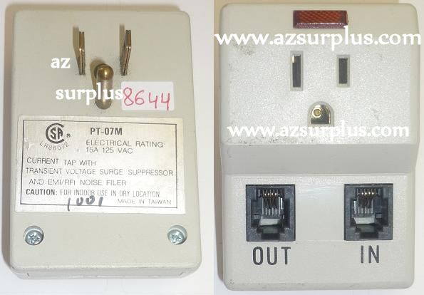 PT-07M VOLTAGE SURGE PROTECTOR ELECTRIC RATING 125VAC 15A USED D