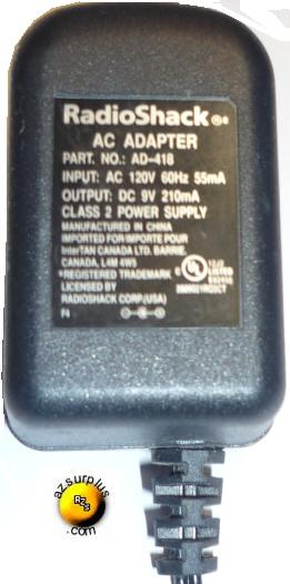 RADIO SHACK AD-418 AC ADAPTER 9VDC 210mA PLUG IN CLASS 2 POWER S