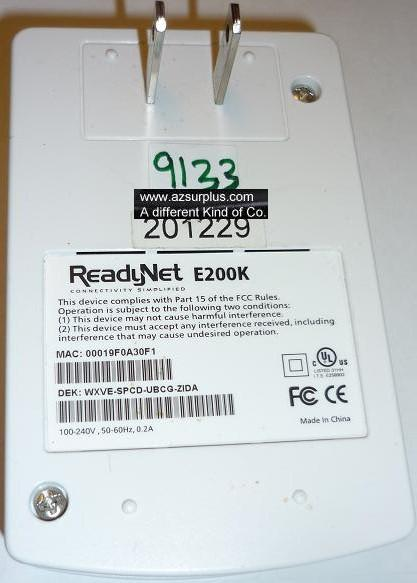 READYNET E200K HomePlug Ethernet Adapter USED 200Mbps CONNECTIVI