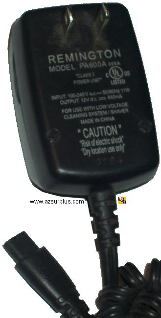 REMINGTON PA600A AC DC ADAPTER 12V DC 640mA POWER SUPPLY