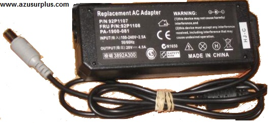REPLACEMENT PA-1900-081 AC ADAPTER 20VDC 4.5A Used 1 x 5.6 x 8 x