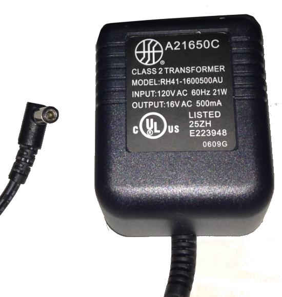 RH41-1600500AU AC ADAPTER 16V AC 500mA Used 2.4 x 5.5 x 9.8 mm 9