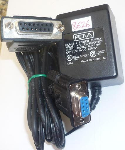 ROVA 410906OO3CT AC ADAPTER 9VDC 600mA USED 2Pin DB-9(DB9) RJ11