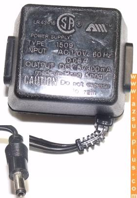 SA LR 43418 AC ADAPTER 1.5V 300mA USED 2.5 x 5.5 x 12 Straight R