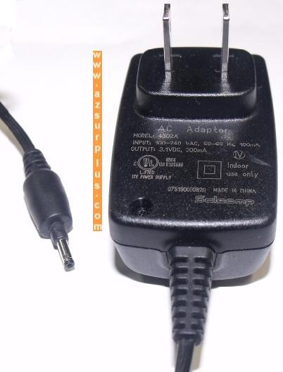 SALCOMP 4302A AC ADAPTER 3.1Vdc 300mA 0.6x2.5mm -(+) SWITCHING P