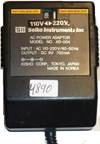 SEIKO SII AD-004 AC ADAPTER 9V 700mA POWER SUPPLY