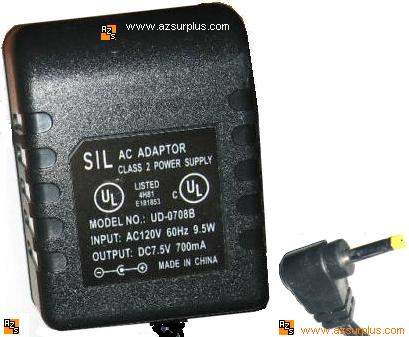 SIL UD-0708B AC DC ADAPTER 7.5V 700mA CLASS 2 POWER SUPPLY