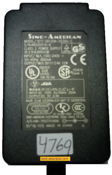 SINO-AMERICAN SA120A-0530V-C AC ADAPTER 5V 2.4A CLASS 2 POWER SU