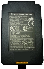 SINO-AMERICAN SAL124A-1220V-6 AC ADAPTER 12VDC 1.66A 19.92W USED